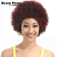 Black Pearl Curly Hair Short Wigs For Black Women Mix Red Human Hair Wigs Fashion Short