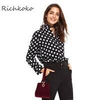 Richkoko 2017 Women Shirts Preppy Work Long Sleeve Laple White Polka Dot Black Blouse OL Loose
