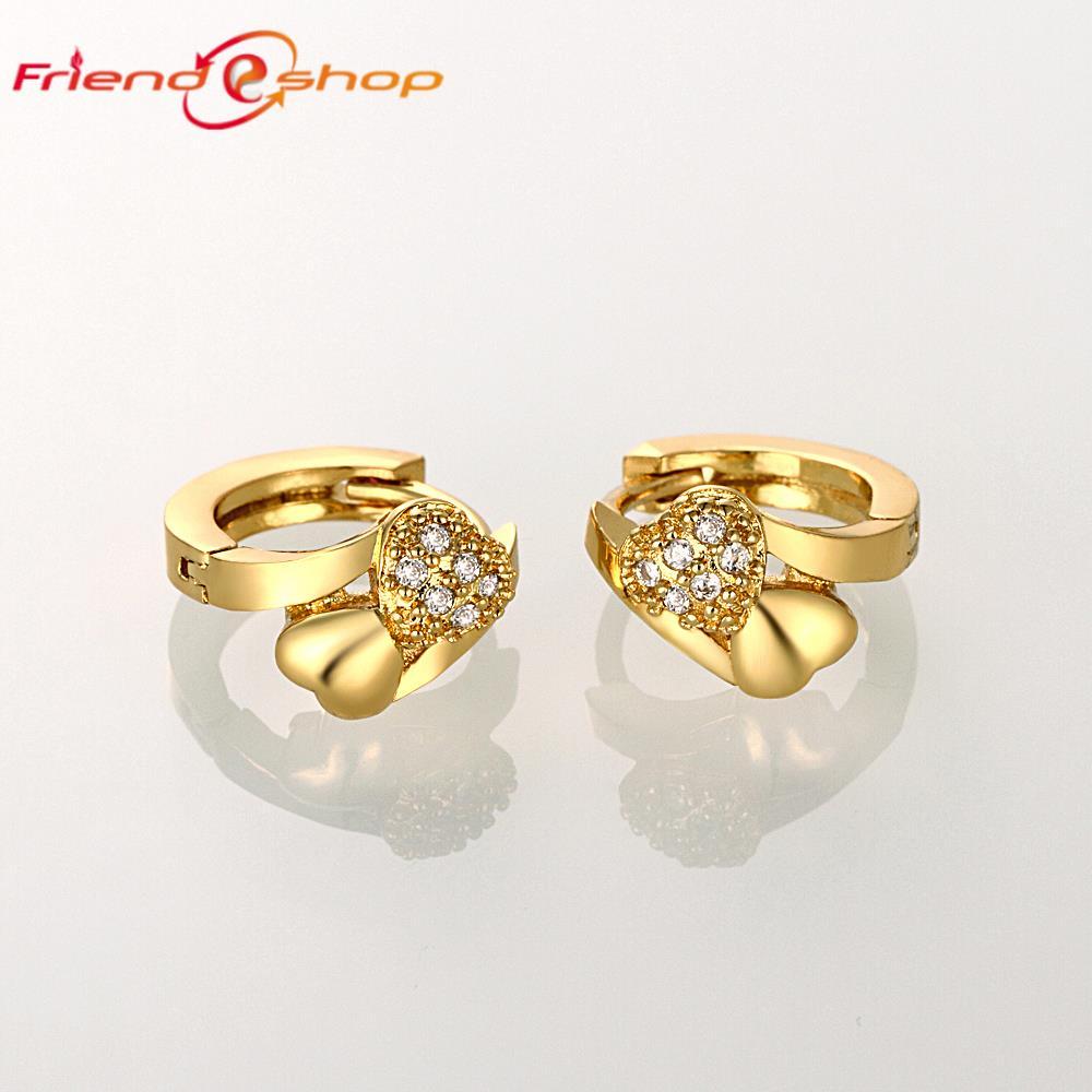 KE051 A Top Sale 18K Rose Gold girl\'s Zircon Heart Earrings charm ...
