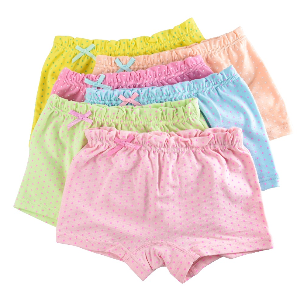 5-Pack Cotton Kids Girls Underwear Short   Panties   for Girl Candy Colors Children Boxer Baby Underpants Clothing 2-11T