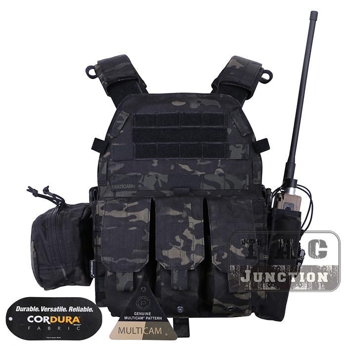 Emerson Tactical Modular MOLLE LBT-6094A Plate Carrier EmersonGear LBT 6094A Combat Vest w/ M4 M16 5.56 .223 Magazine Pouches emerson tactical navy jumpable plate carrier njpc emersongear lightweight combat vest with 5 56 223 triple magazine mag pouches