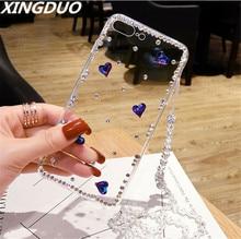 XINGDUO 3D Luxury Bling Crystal Rhinestone Cases For Xiaomi Redmi note 5 6 7/note pro/Xiaomi mi 8 9 Diamond girl phone Case