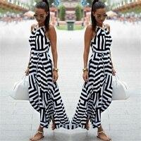 Bigsweety Новые Модные женские сексуальные платья в полоску Бохо длинное летнее платье без рукавов пляжный сарафан на ремне Vestidos для женщин