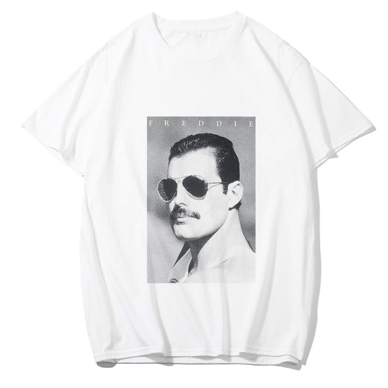 Freddie Mercury T Shirt Men/women Fashion VOGUE Tshirt Hip Hop Rock Punk Style Summer White Cotton Boyfriend Gift Tshirt Homme