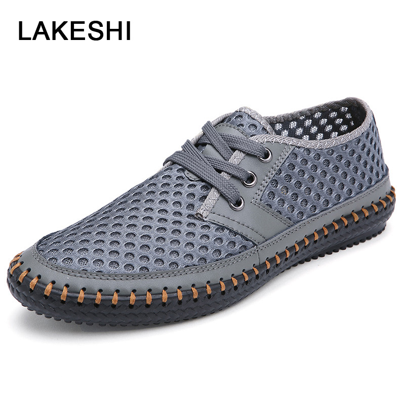 LAKESHI Men Shoes Mesh Summer Flat Shoes Men Loafers Lace-Up Breathable Men Casual Shoes Walking Soft Male Footwear girl shoes in sri lanka
