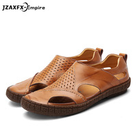 Genuine leather men sandals summer cow leather new for beach male shoes mens gladiator sandal leather Lazy Casual Sandals
