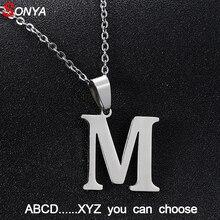 Колье SONYA от A до Z из нержавеющей стали с маленькими буквами для женщин/мужчин, ожерелье с буквами, Серебряное английское ювелирное изделие, подарок