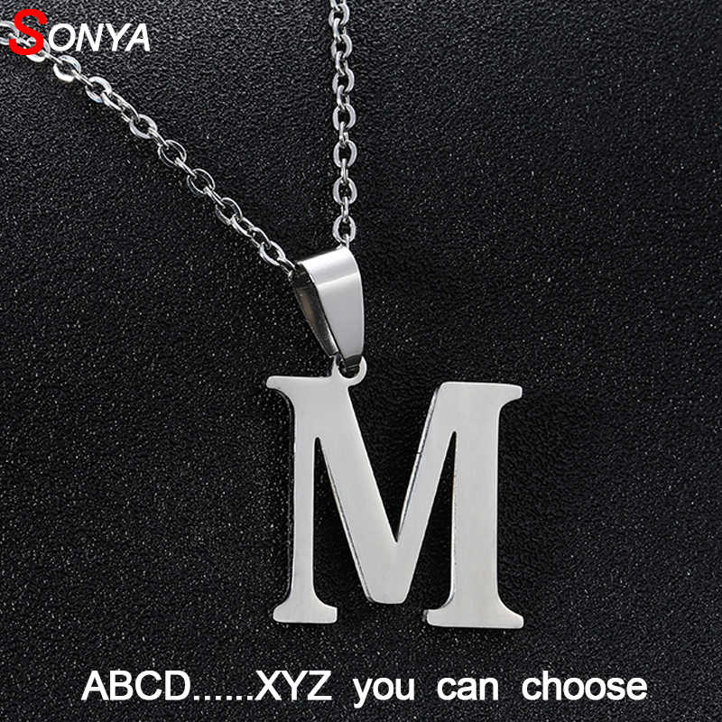 SONYA A to Z Stainless Steel Small Letters Necklaces For Women/Men Initial Letter Necklace Silver English Letter Jewelry Gift