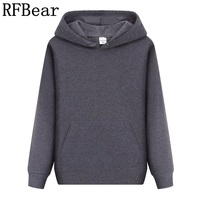 RFBear Brand 2017 New Men Casual Hoodies Sweatshirt Solid Color Print Trend Comfortable Pullover Coat Warm