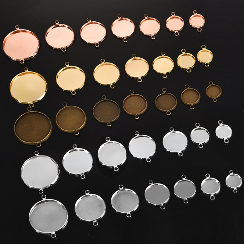 10pcs Round Blank Cameo Cabochon Tray Base 25mm Bracelet Connector Findings
