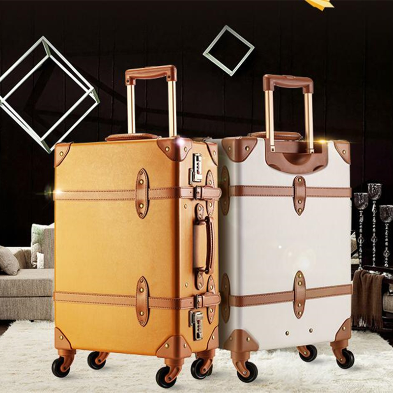 Exquiste Pu leather edge Luggage Case Vintage spinner wheels women suitcase trolley luggage travel boarding box 24inch soft bag vintage suitcase 20 26 pu leather travel suitcase scratch resistant rolling luggage bags suitcase with tsa lock