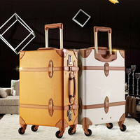 Exquiste Pu leather edge Luggage Case Vintage spinner wheels women suitcase trolley luggage travel boarding box 24inch soft bag