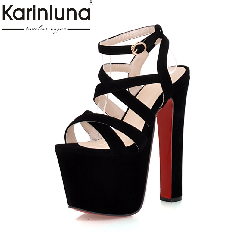 Karinluna 2018 Hot Sale Sexy Platform Ankle Strap Women Sandals Shoes Spring Summer Super High Heels Party Wedding Shoes Woman super high ladies sweet sexy summer butterfly crystal high heels sandals women platform ankle strap shoes purple wedding shoes