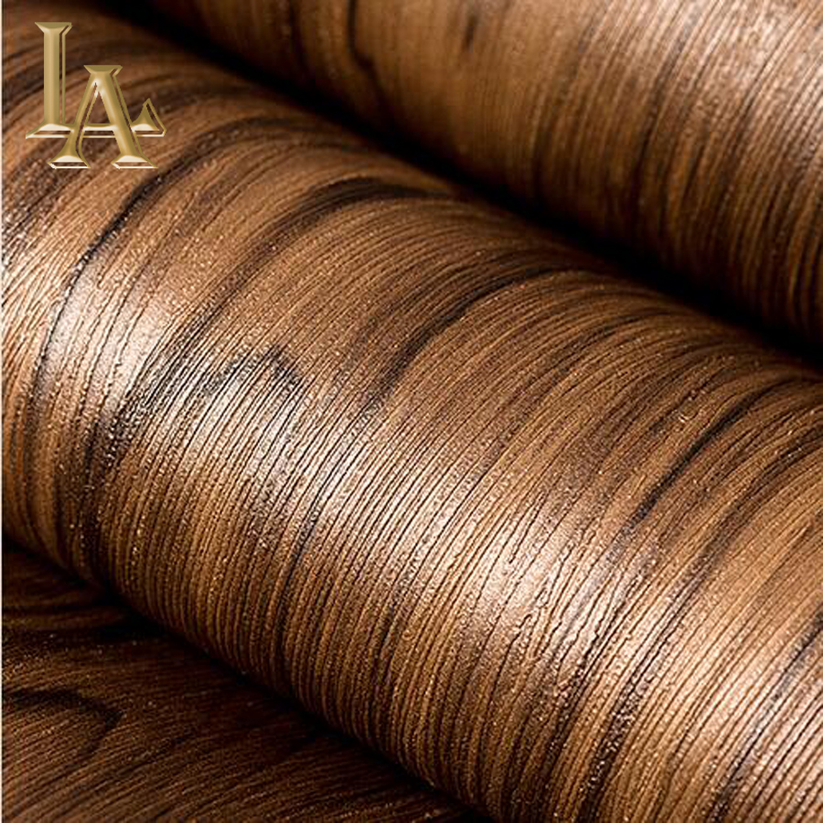 Clic Wood Textured Wallpaper Vinyl For Bedroom Study Room Background Waterproof Pvc Wall Paper Rolls Brown Grey W307 In Wallpapers From Home