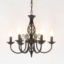 Cổ điển Sắt Rèn Chandelier E14 Candle Light Lamp Kim Loại Màu Trắng Đen Chiếu Sáng Lịch Thi Đấu