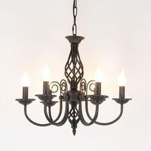 Винтажная люстра из кованого железа E14, светильник в виде свечи, металлический светильник черного и белого цвета