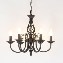 Vintage Wrought Iron Chandelier E14 Candle Light Lamp Black White Metal Lighting Fixture
