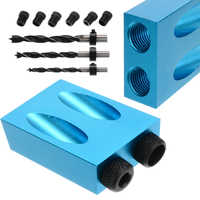 Woodworking Pocket Hole Screw Jig Kit With Dowel Puncher Drill Set Carpenters 6/8/10mm 15 Degree Angle Wood Joint Tool Accessory