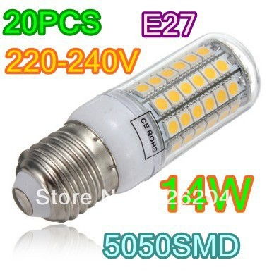 Free shipping 220V super bright LED Corn Light E27 E14 B22 14W 69LED 5050 SMD Warm White Pure White led Bulb Lamp 220V