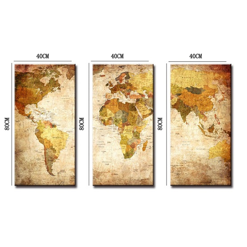 Modern style 3 panel vintage world map canvas painting oil modern style 3 panel vintage world map canvas painting oil paintings print on canvas home decor wall art wall picture no frame in painting calligraphy sciox Images