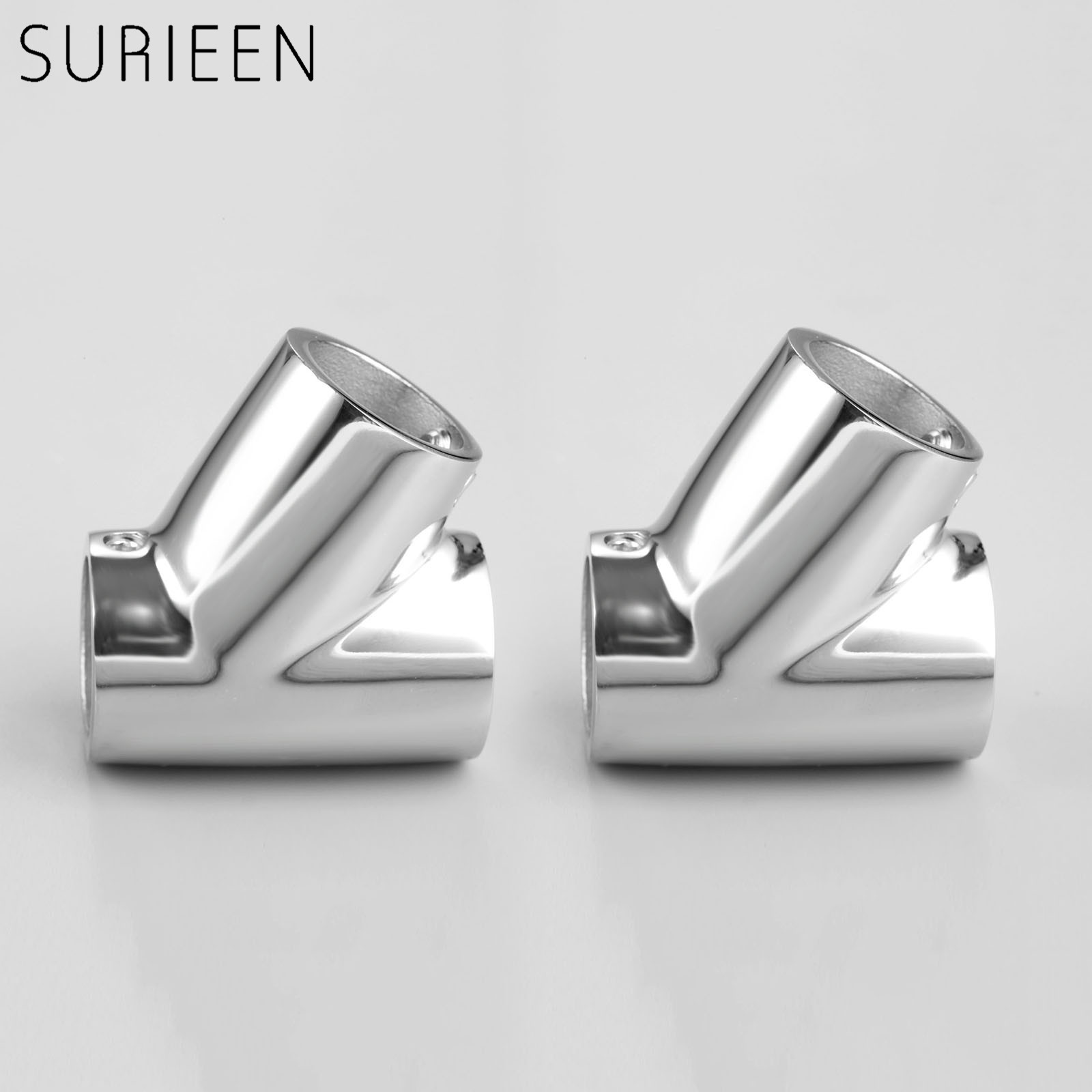 SURIEEN 2Pcs Marine Boat Stainless Steel Hand Rail Fitting 60 Degree Tee Hardware 7/8 Inch 22mm Tube Boat Accessories Marine