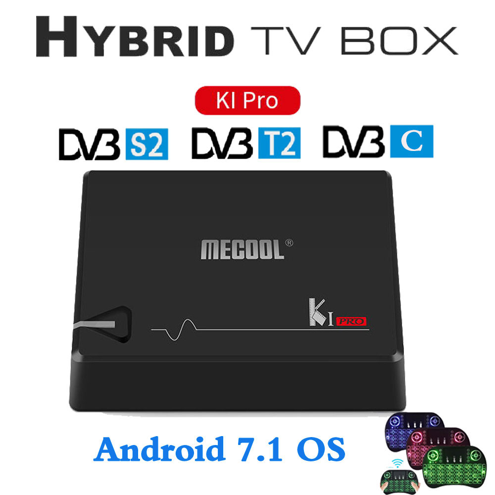 MECOOL KI PRO DVB Android 7.1 TV Box DVB-T2/DVB-S2/DVB-C Amlogic S905D Quad 2G+16G Support Set Top Box CCCAM NEWCAMD android box iptv stalker middleware ipremuim i9pro stc digital connector support dvb s2 dvb t2 cable isdb t iptv android tv box