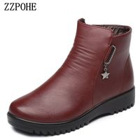 ZZPOHE Winter Mother Cotton Shoes Women Genuine Leather Flat Ankle Boots Elderly Plus Warm Comfortable Boots