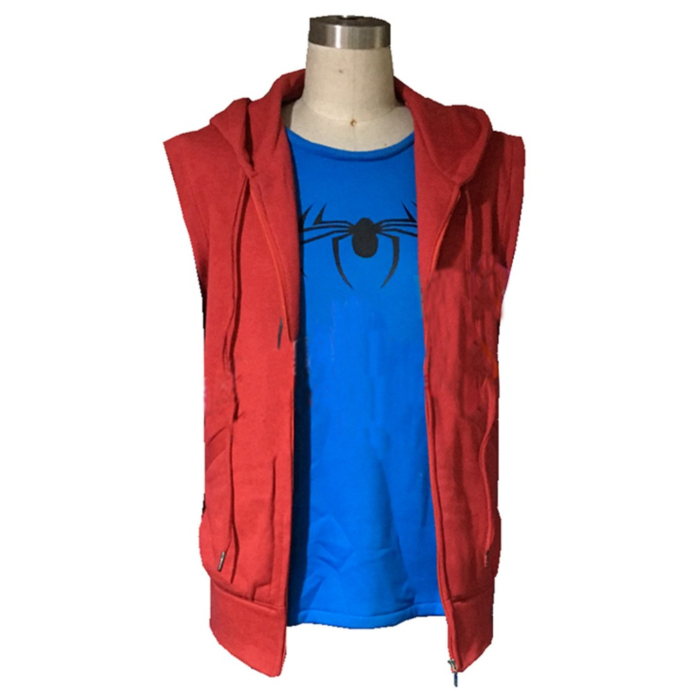 2017 Spider-Man Homecoming Homemade Suit Cosplay Costume Spiderman Peter Park Sleeveless Hoodie Shirt Red Hero Battle Outfit