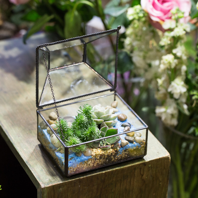 Tabletop Geometric Decorative Flower Pot Bonsai Pot Polyhedron Glass  Terrarium DIY Small Box Succulent Plants Planter