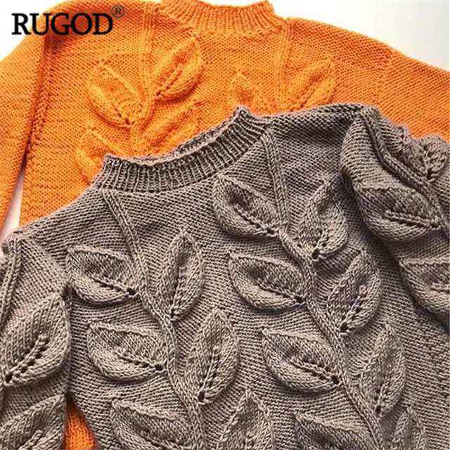 Leaves Pattern Long Sleeve Knitted Sweater 5