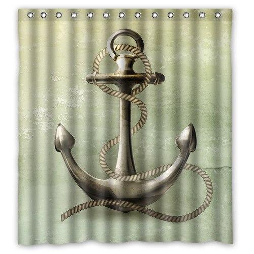 Stylish Fabric Bathroom Curtain Custom Sailor Spirit Chevron Anchor
