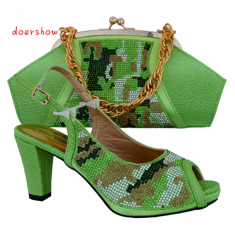 doershow 2015 new popular Italian shoes and matching bags set for wedding and party GREEN size 38-42 !HVB1-30