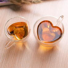 Heat-resistant Glass Cup Creative Exquisite Heart-Shaped Double Layers Personality Transparent Lovely Juice Coffee Drink Cups