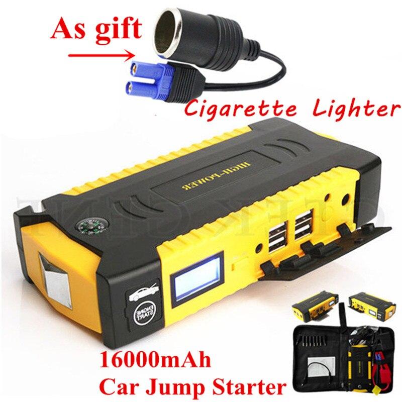 High Capacity Petrol Diesel Car Jump <font><b>Starter</b></font> 16000mAh 12V Portable Lighter Starting Device 600A Pack Car Charger For Car Battery
