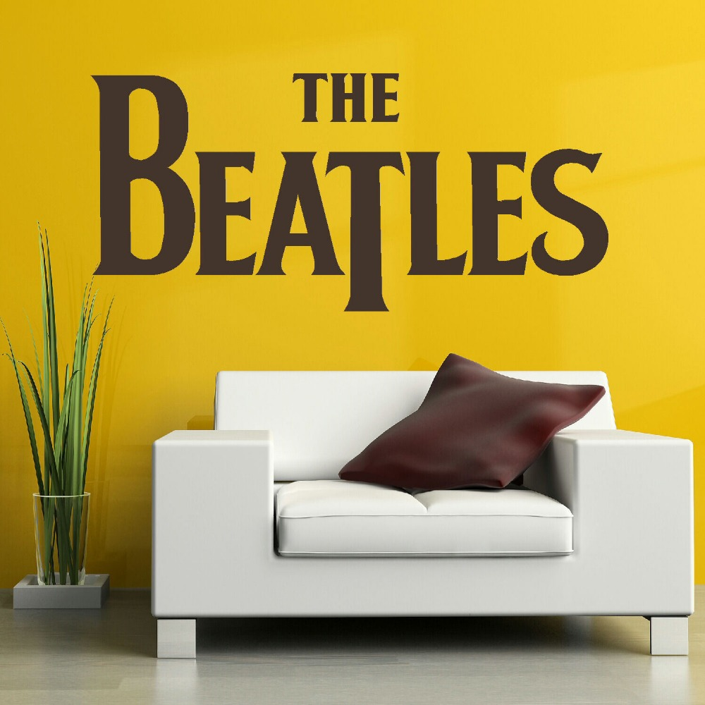 LARGE MUSIC QUOTE THE BEATLES LOGO WALL ART STICKER TRANSFER STENCIL ...