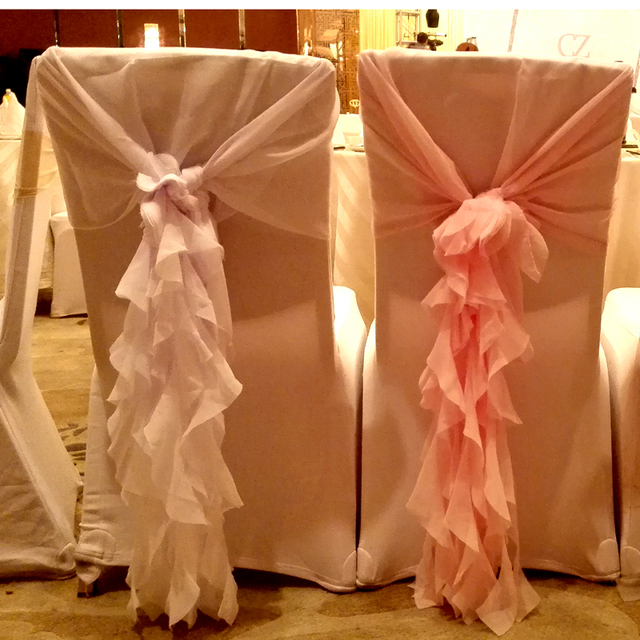 Wedding Chair Sash Accessories White Wooden Covers Decoration Marriage Chiffon Fancy Hood Event Party Supplies Favors And Gifts 30sets