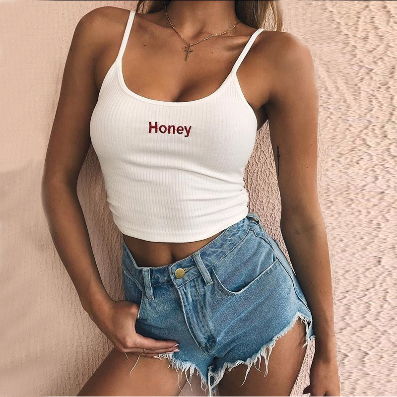 HTB1FXbau2uSBuNkHFqDq6xfhVXac - Sexy Women Crop Top Summer Honey Letter Embroidery Strap Tank Tops Cropped Feminino Ladies Elastic Shirt Vest Camisole