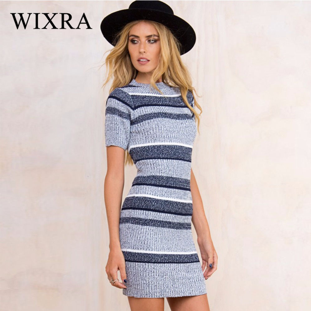 Wixra Autumn Winter Women Striped Knitted Mini Dress Women Casual Round Neck Short Sleeve Bodycon Sweater Dresses for Woman fashion woman s striped beanies hat 2016 new autumn winter knitted warm wool casual girl cap for woman skullies chapeu feminino
