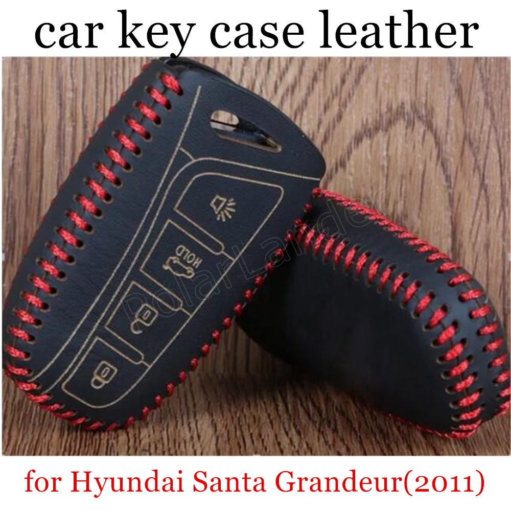 Only Red  factory promoted Car key cover car key case Hand sewing Genuine leather fit for Hyundai Santa 4 button Grandeur(2011)