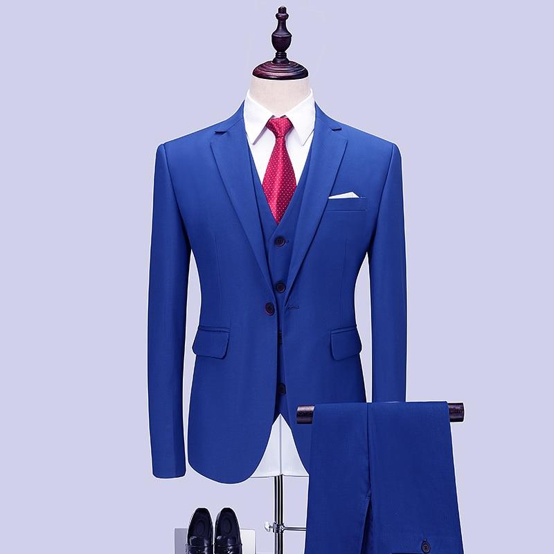 Erkek Kıyafeti'ten T. Elbise'de Erkek Düğün Suit 2019 Yüksek Kalite Kraliyet Mavi Erkek Smokin Terno Masculino Slim Fit Erkek Takım Elbise 3 Adet (ceket + Pantolon + Yelek)'da  Grup 1