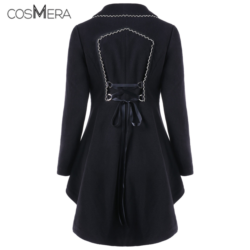CosMera   Trench   Coat Women Back Lace Up Turn Down Collar Long Sleeve High Low Asymmetric Coat Autumn Outwear Overcoat Gothic Coat