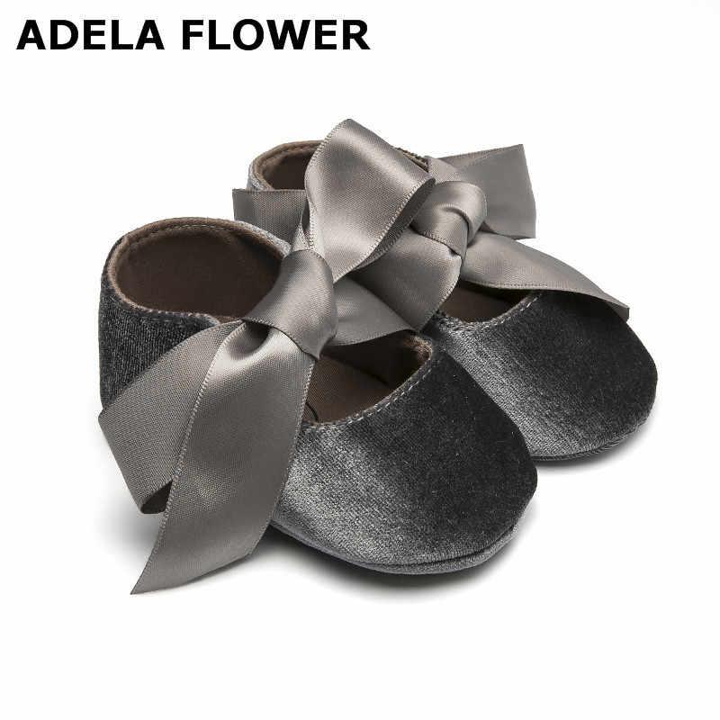 8e9a01ac590 Adela Flower 0-18M Big Bow Baby Girl Shoes Toddler Princess Shoes Anti-Slip  Infant Prewalker Newborn Baby Shoes Girls 9 colors