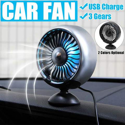 Air outlet /Base mode 360 Degree All-Round Adjustable Car Auto Air Cooling Fan 3 Gears Low Noise Car Auto Cooler Air Fan Lahore