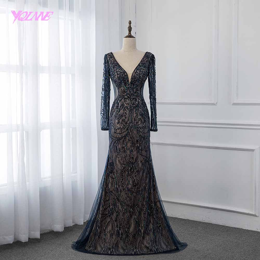 YQLNNE 2019 Elegant Navy Blue Long Sleeve   Evening     Dress   Lace Crystals Mermaid Pageant   Dresses   Robe de Soiree