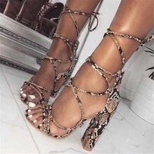 2019 New Fashion New Animal Prints Snakeskin grain Roman Sandals Sexy Square Ope