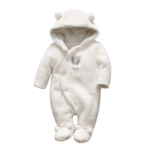 3ec1c5c5e02 Newborn Baby Girls Boy Clothes Footed Romper Winter Unisex Plush Hooded Bear  Infant Jumpsuit Warm Costume