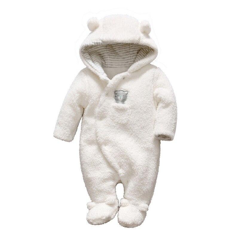 Ropa para bebés recién nacidos, Pelele con pies, Unisex, de invierno, oso de felpa con capucha, mono infantil, traje cálido