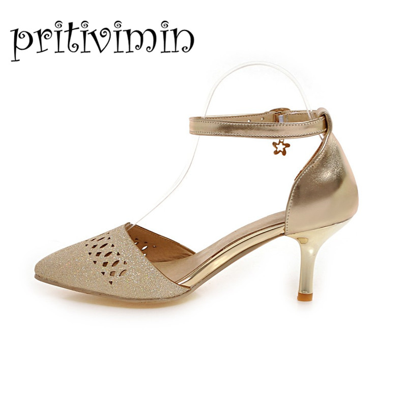 2017 women summer party PU cut out shoes girls fashion thin high heels female pointed toe ankle strap sandals big size 521-4 4pk ce310a ce311a ce312a ce313a compatible color toner cartridge 126a for hp laserjet cp1025 cp1025nw m275mfp m175a m175nw