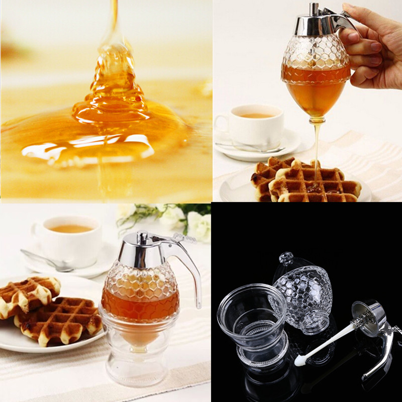 Acrylic Gravy Boat 200ml Clear Honey Syrup Dispenser Jar