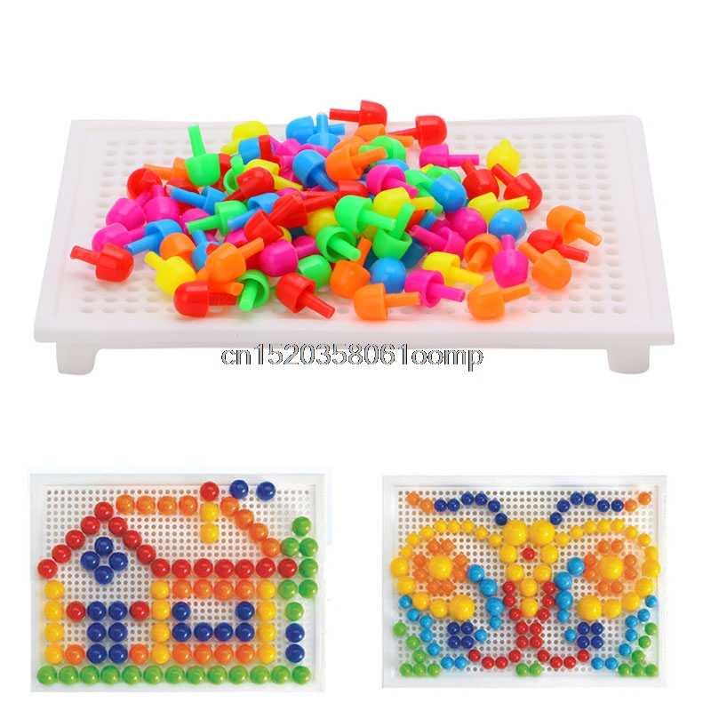 92Pcs Creative פטריות ציפורניים בלוקים עם לוח ערכת חינוכיים ילד DIY צעצוע מתנה
